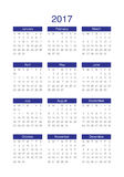 Year 2017 Calendar vector design template. Simple and clean design Stock Image