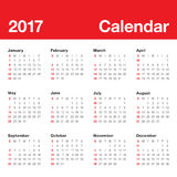Year 2017 Calendar vector design template. Simple and clean design Stock Photos