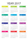 Year 2017 Calendar vector design template. Simple and clean design Royalty Free Stock Image
