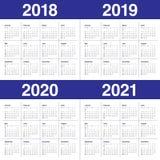 Year 2018 2019 2020 2021 calendar vector. Design template, simple and clean design Stock Photos