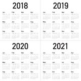 Year 2018 2019 2020 2021 calendar vector. Design template, simple and clean design Royalty Free Stock Photos