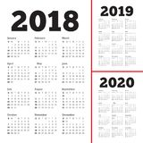 Year 2018 2019 2020 calendar vector. Design template, simple and clean design Royalty Free Stock Images