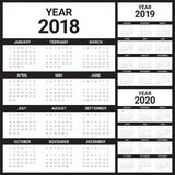 Year 2018 2019 2020 calendar vector. Design template, simple and clean design Stock Photo
