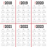 Year 2018 2019 2020 2021 2022 2023 calendar vector. Design template, simple and clean design Stock Photography