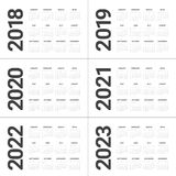 Year 2018 2019 2020 2021 2022 2023 calendar vector Stock Images