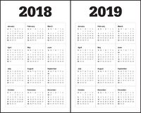Year 2018 2019 calendar vector. Design template, simple and clean design Royalty Free Stock Image