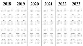 Year 2018 2019 2020 2021 2022 2023 calendar vector. Design template, simple and clean design Royalty Free Stock Photo