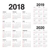Year 2018 2019 2020 calendar vector. Design template, simple and clean design Stock Photos