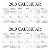 Year 2018 2019 calendar vector Royalty Free Stock Image