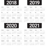 Year 2018 2019 2020 2021 calendar vector. Design template, simple and clean design Stock Image