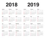 Year 2018 2019 calendar vector. Design template, simple and clean design vector illustration