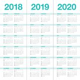 Year 2018 2019 2020 calendar vector. Design template, simple and clean design Royalty Free Stock Photography