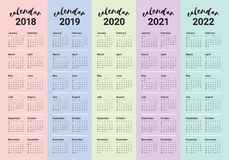Year 2018 2019 2020 2021 2022 calendar vector Royalty Free Stock Images