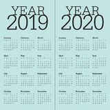 Year 2019 2020 calendar vector design template. Simple and clean design royalty free illustration