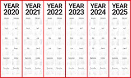 Year 2020 2021 2022 2023 2024 2025 calendar vector design template
