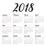 Year 2018 calendar vector design template Royalty Free Stock Photos
