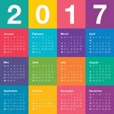 Year 2017 Calendar vector design template. Simple and colorful design Royalty Free Stock Photos