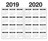 Year 2019 2020 calendar vector design template. Simple and clean design vector illustration