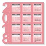 2018 Year Calendar Vector Design. Template. Week starts from Sunday. Vector Illustration eps10 Stock Photos