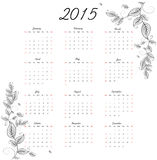 2015 year calendar. Vector illustration background Royalty Free Stock Photos