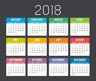 Year 2018 calendar vector template. Colorful year 2018 calendar  on a dark background Royalty Free Stock Image