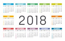 Year 2018 calendar vector template. Year 2018 colorful minimalist calendar, on white background Stock Images