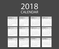 2018 year calendar. Vector template . Graphic line simple style. Isolated Royalty Free Stock Images