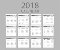 2018 year calendar. Vector template . Graphic line simple style. Isolated Royalty Free Stock Photography