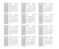 2018 year calendar. Vector template . Graphic line simple style. Isolated Stock Images