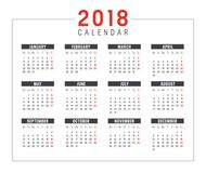 Year 2018 calendar vector template. Year 2018 minimalist black and red calendar, on white background Royalty Free Stock Image