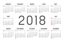 Year 2018 calendar vector template. Year 2018 minimalist calendar, on white background Royalty Free Stock Images