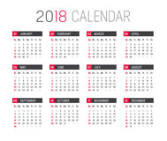Year 2018 calendar vector template. Year 2018 minimalist calendar, on white background Royalty Free Stock Photo