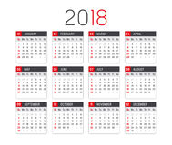 Year 2018 calendar vector template. Year 2018 minimalist calendar, on white background Stock Image