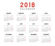 Year 2018 calendar vector template. Year 2018 minimalist calendar, on white background. Vector template - Weeks start on monday Stock Images
