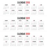 Year 2018 2019 2020 calendar vector. Design template, simple and clean design Royalty Free Stock Image