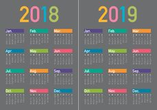 Year 2018 2019 calendar vector. Design template, simple and clean design Stock Photography