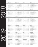 Year 2018 2019 calendar vector. Design template, simple and clean design Royalty Free Stock Photography