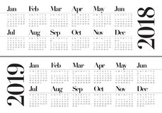 Year 2018 2019 calendar vector. Design template, simple and clean design Royalty Free Stock Photo