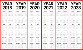 year 2018 2019 2020 2021 2022 2023 calendar vector design template simple and clean