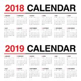 Year 2018 2019 calendar vector Royalty Free Stock Photography