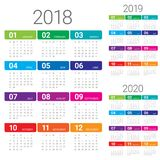 Year 2018 2019 2020 calendar vector. Design template, simple and clean design Royalty Free Stock Photos