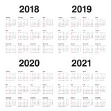 Year 2018 2019 2020 2021 calendar vector. Design template, simple and clean design Royalty Free Stock Images