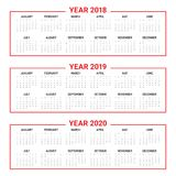 Year 2018 2019 2020 calendar vector. Design template, simple and clean design Stock Photography