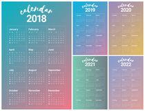 Year 2018 2019 2020 2021 2022 calendar vector Royalty Free Stock Photography