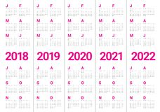 Year 2018 2019 2020 2021 2022 calendar vector Royalty Free Stock Image