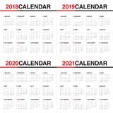Year 2018 2019 2020 2021 calendar vector. Design template, simple and clean design Royalty Free Stock Image