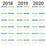 Year 2018 2019 2020 calendar vector. Design template, simple and clean design Stock Image