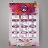 2016 Year Calendar with watercolor paint. Background. English, Sunday start. Vector illustration Royalty Free Stock Photo
