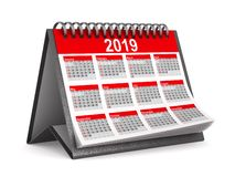 2019 year calendar on white background. Isolated 3D illustration royalty free stock photo