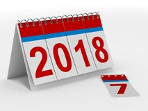 2018 year calendar on white backgroung. Isolated 3D illustration.  Stock Photos